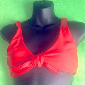 Zaful Forever Young Front Tie Red Bikini Top